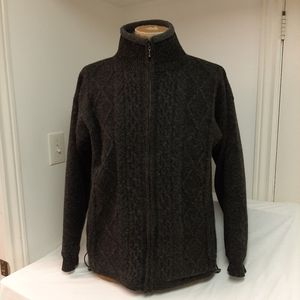 Aran Isles dark gray wool cardigan sweater unisex